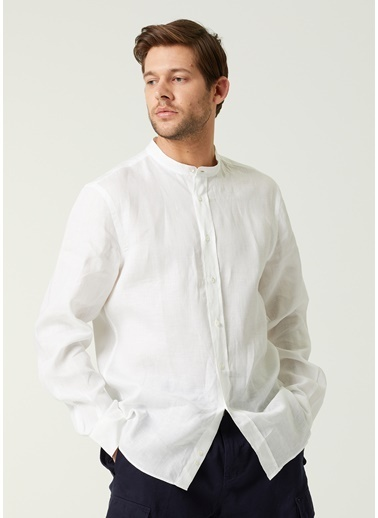Aspesi Aspesi  Yakası Düğmeli Keten Gömlek 101640499 Beyaz